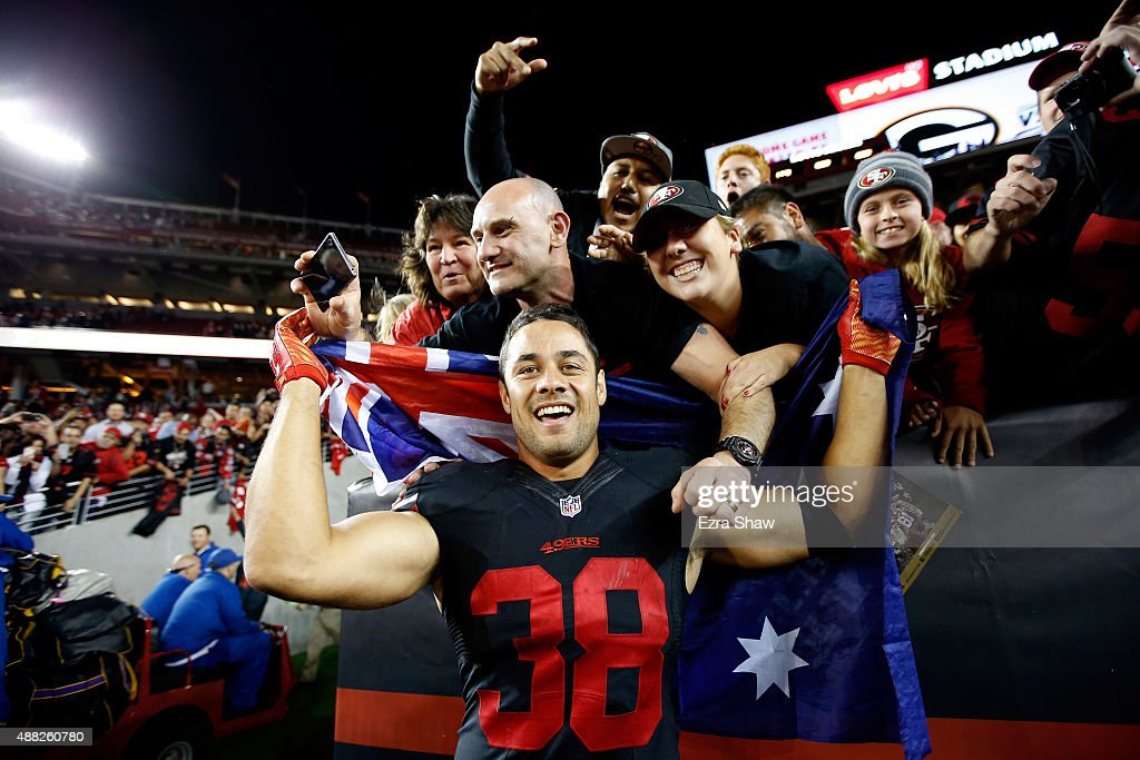 Jarryd Hayne #38 of the San Francisco 49ers poses with fans after the 49ers beat the Minnesota Vikings in their NFL game at Levi's Stadium on September 14, 2015 in Santa Clara, California.