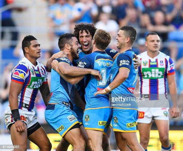 Jarryd Hayne of the Titans celebrates after scoring a try during the round nine NRL match between the Gold Coast Titans and the Newcastle Knights at...
