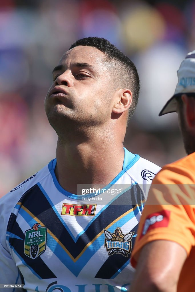 Jarryd Hayne of the Titans leaves the ground after sustaining an injury during the round two NRL match between the Newcastle Knights and the Gold Coast Titans at McDonald Jones Stadium on March 11, 2017 in Newcastle, Australia.