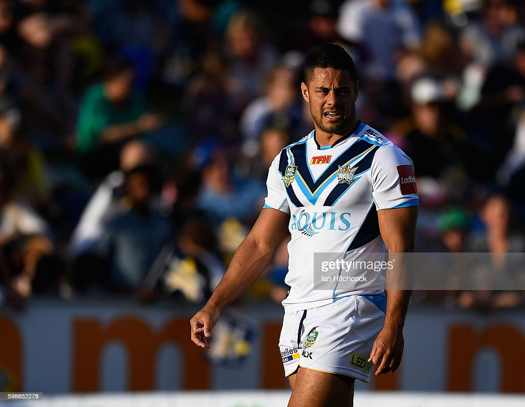 Jarryd Hayne of the Titans looks on before the start of the round 26 NRL match between the North Queensland Cowboys and the Gold Coast Titans at 1300SMILES Stadium on September 3, 2016 in Townsville, Australia.