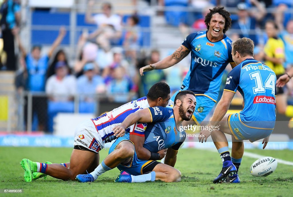 Jarryd Hayne of the Titans scores a try during the round nine NRL match between the Gold Coast Titans and the Newcastle Knights at Cbus Super Stadium on April 29, 2017 in Gold Coast, Australia.