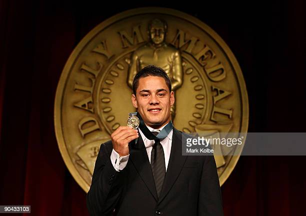 Jarryd Hayne poses with the Dally M Award at the 2009 Dally M Awards held at the State Theatre on September 8 2009 in Sydney Australia