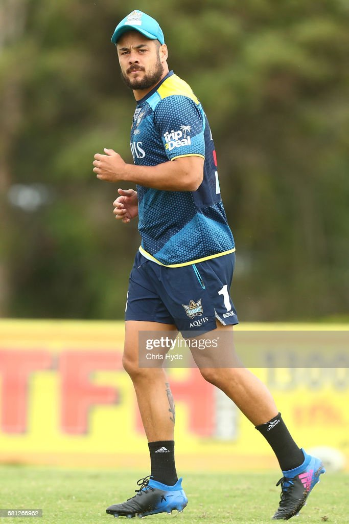 Jarryd Hayne runs during a Gold Coast Titans NRL training session on May 10, 2017 in Gold Coast, Australia.