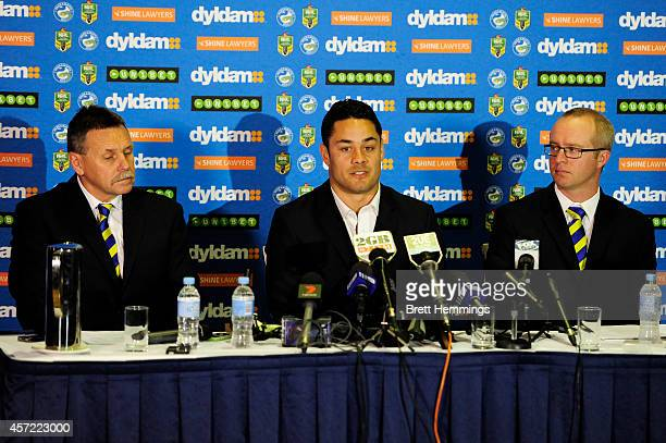 Jarryd Hayne speaks at a press conference with Eels CEO Scott Seward and Eels Chairman Steve Sharp to announce he is quitting the NRL to pursue NFL...