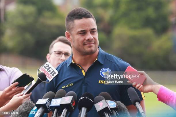 Jarryd Hayne speaks during a press conference after Parramatta Eels training at Old Saleyards Reserve on January 3 2018 in Sydney Australia