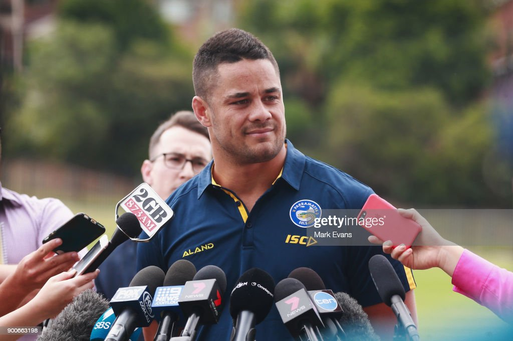 Jarryd Hayne speaks during a press conference after Parramatta Eels training at Old Saleyards Reserve on January 3, 2018 in Sydney, Australia.