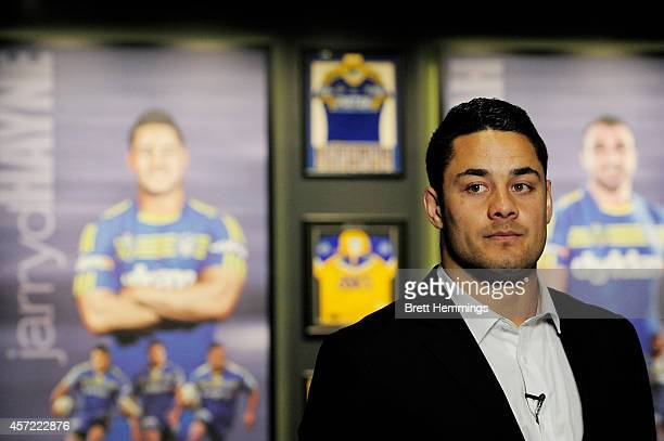 Jarryd Hayne speaks looks on during a press conference to announce he is quitting the NRL to pursue NFL in America on October 15 2014 in Parramatta...