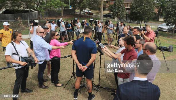Jarryd Hayne speaks to a large media contingent during a press conference after Parramatta Eels training at Old Saleyards Reserve on January 3 2018...