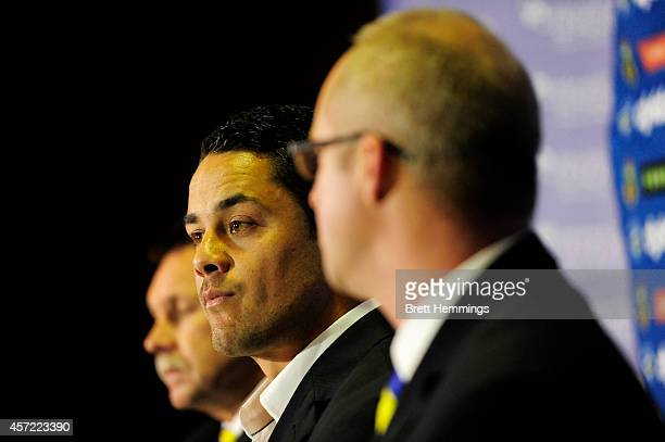 Jarryd Hayne speaks to media during a press conference to announce he is quitting the NRL to pursue NFL in America on October 15 2014 in Parramatta...