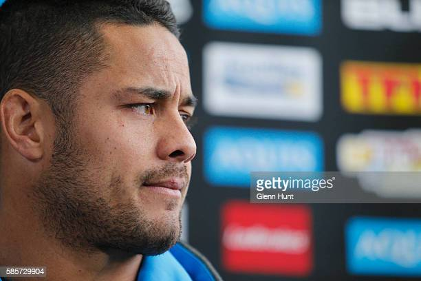 Jarryd Hayne speaks to the media during a media opportunity at Cbus Super Stadium on August 4 2016 in Gold Coast Australia
