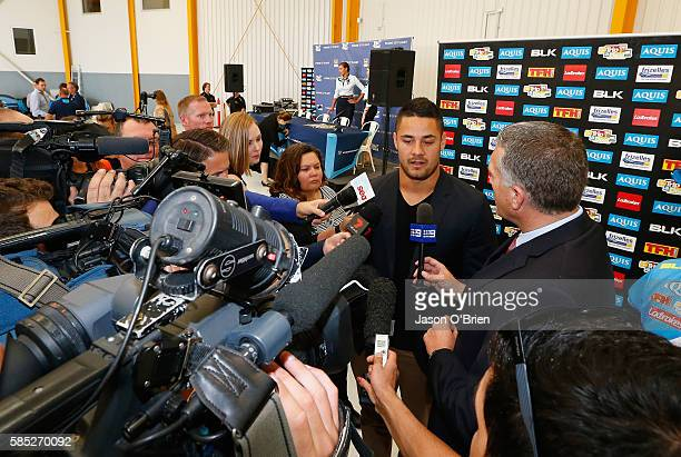 Jarryd Hayne speaks to the media during a press conference at Gold Coast Airport on August 3 2016 in Gold Coast Australia