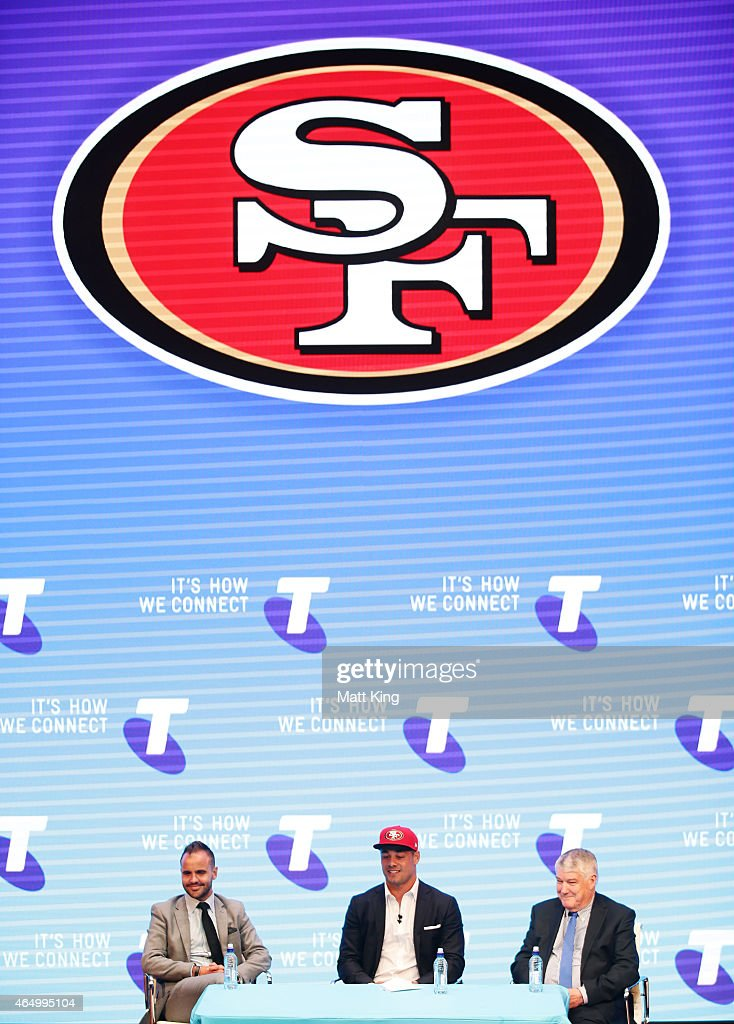Jarryd Hayne speaks to the media during a press conference at the Telstra Amphitheatre on March 3, 2015 in Sydney, Australia. Hayne has signed a NFL futures contract with the San Francisco 49ers.