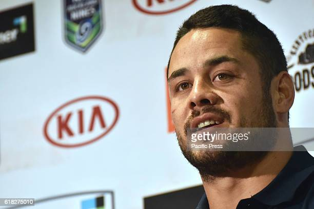 Jarryd Hayne speaks to the media during media conference in Auckland New Zealand Jarryd Hayne is a world class international NRL player He announces...