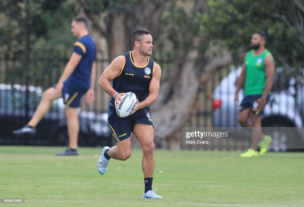 Jarryd Hayne takes part in a Parramatta Eels NRL pre-season training session at Old Saleyards Reserve on January 3, 2018 in Sydney, Australia.