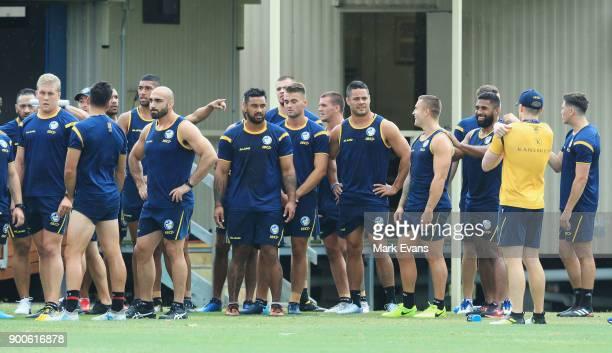 Jarryd Hayne takes part in a Parramatta Eels NRL preseason training session at Old Saleyards Reserve on January 3 2018 in Sydney Australia