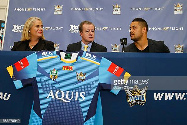 Jarryd Hayne Titans CEO Graham Annesley and Rebecca Frizelle during a press conference at Gold Coast Airport on August 3 2016 in Gold Coast Australia