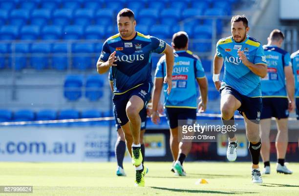 Jarryd Hayne trains during a Gold Coast Titans NRL media opportunity at Cbus Super Stadium on August 9 2017 in Gold Coast Australia