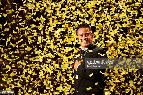 Jarryd Hayne watches the confetti fall after winning the Dally M Medal at the 2009 Dally M Awards held at the State Theatre on September 8, 2009 in...