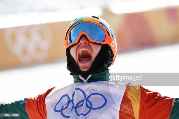 Jarryd Hughes of Australia celebrates winning silver during the Men's Snowboard Cross Big Final on day six of the PyeongChang 2018 Winter Olympic...