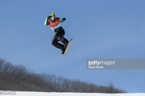 Jarryd Hughes of Australia competes during the Men's Snowboard Cross Seeding on day six of the PyeongChang 2018 Winter Olympic Games at Phoenix Snow...