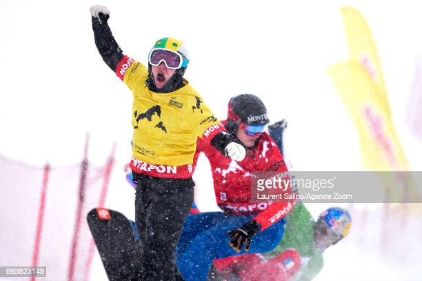 Jarryd Hughes of Australia takes 1st place during the FIS Freestyle Ski World Cup Men's and Women's Ski Snowboardcross on December 16 2017 in...