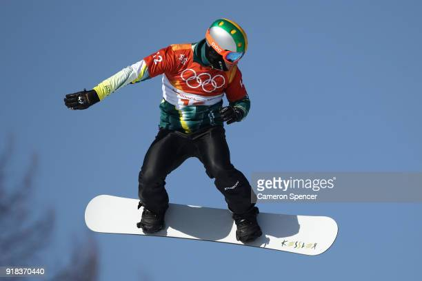 Jarryd Hughes of Australia warms up ahead of the Men's Snowboard Cross Seeding on day six of the PyeongChang 2018 Winter Olympic Games at Phoenix...