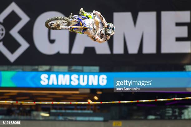 Jarryd McNeil clears the bar at 44 feet and wins the gold medal during the Moto X Step Up Final at X Games Minneapolis on July 15 2017 at US Bank...
