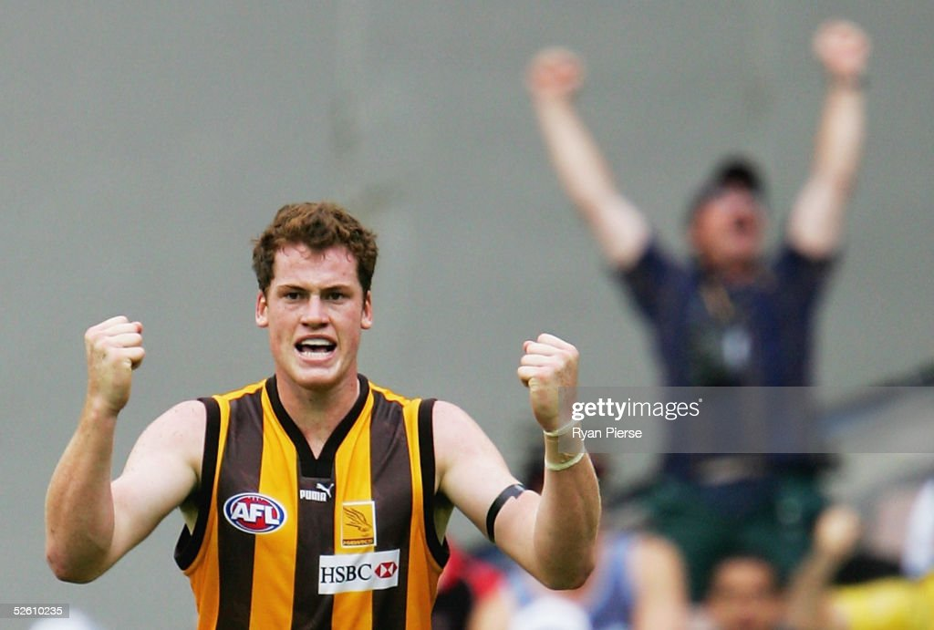 Jarryd Roughead #35 for the Hawks celebrates a goal during the round three AFL match between the Essendon Bombers and the Hawthorn Hawks at the M.C.G. on April 10, 2005 in Melbourne, Australia.