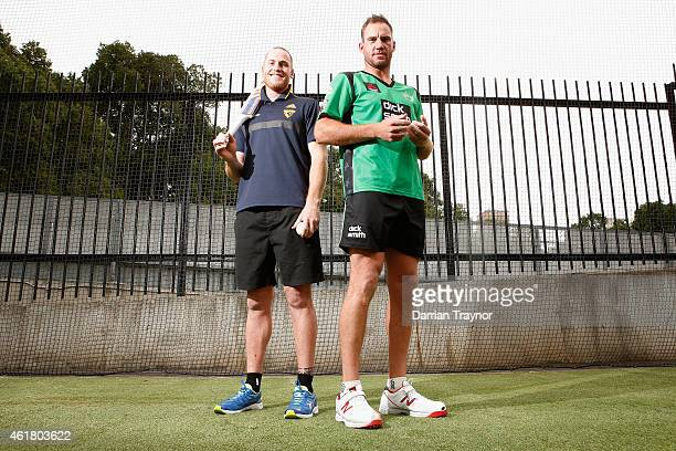 Jarryd Roughead of the Hawks and John Hastings of the Melbourne Stars pose for a photo during a Melbourne Stars and Hawthorn Hawks media opportunity...