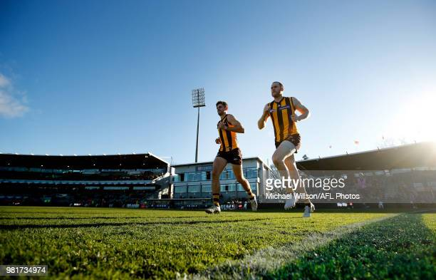 Jarryd Roughead of the Hawks and Ricky Henderson of the Hawks are seen during the 2018 AFL round 14 match between the Hawthorn Hawks and the Gold...