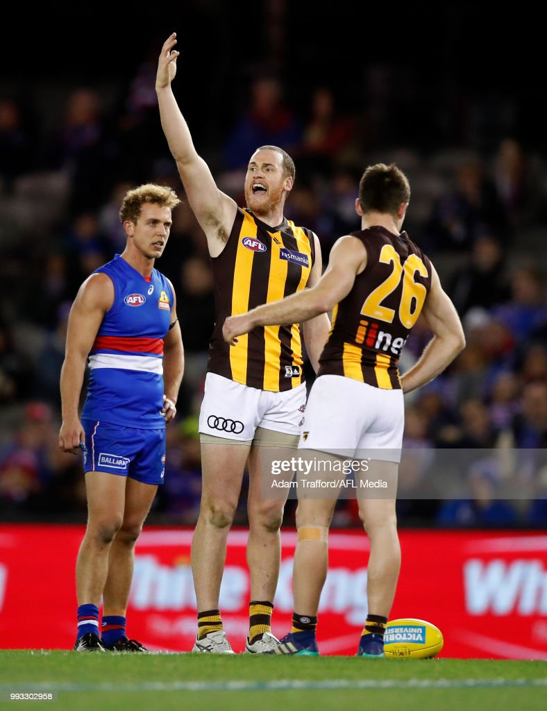 Jarryd Roughead of the Hawks calls to the bench as Ben McEvoy of the Hawks recovers from a heavy knock during the 2018 AFL round 16 match between the Western Bulldogs and the Hawthorn Hawks at Etihad Stadium on July 07, 2018 in Melbourne, Australia.