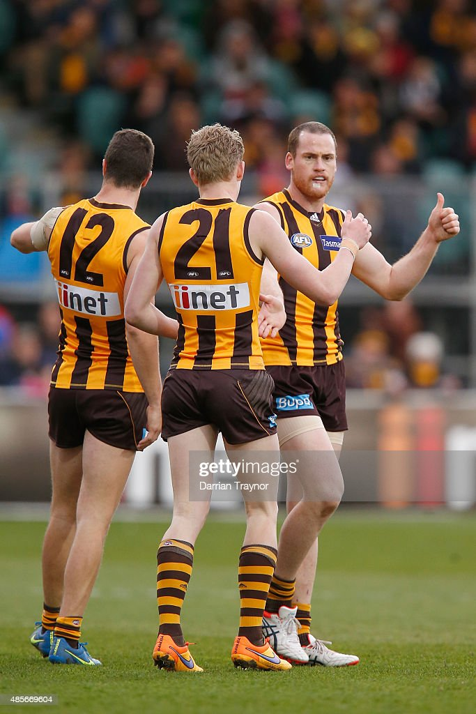 Jarryd Roughead of the Hawks celebrates a goal during the round 22 AFL match between the Hawthorn Hawks and the Brisbane Lions at Aurora Stadium on August 29, 2015 in Launceston, Australia.
