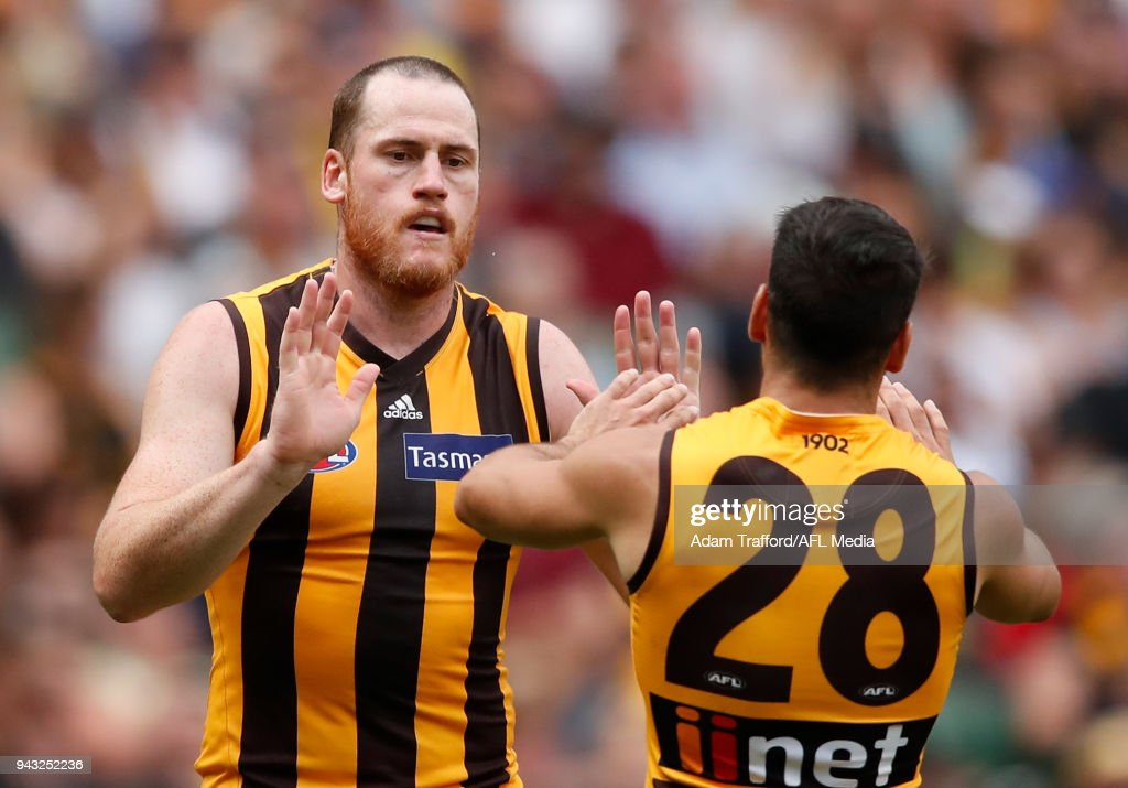 Jarryd Roughead of the Hawks (left) celebrates a goal with Paul Puopolo of the Hawks during the 2018 AFL round 03 match between the Richmond Tigers and the Hawthorn Hawks at the Melbourne Cricket Ground on April 8, 2018 in Melbourne, Australia.