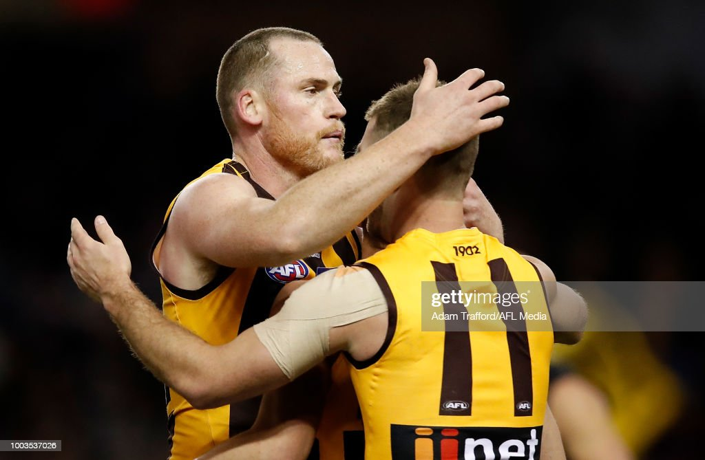 Jarryd Roughead of the Hawks (left) celebrates with Brendan Whitecross of the Hawks during the 2018 AFL round 18 match between the Carlton Blues and the Hawthorn Hawks at Etihad Stadium on July 22, 2018 in Melbourne, Australia.