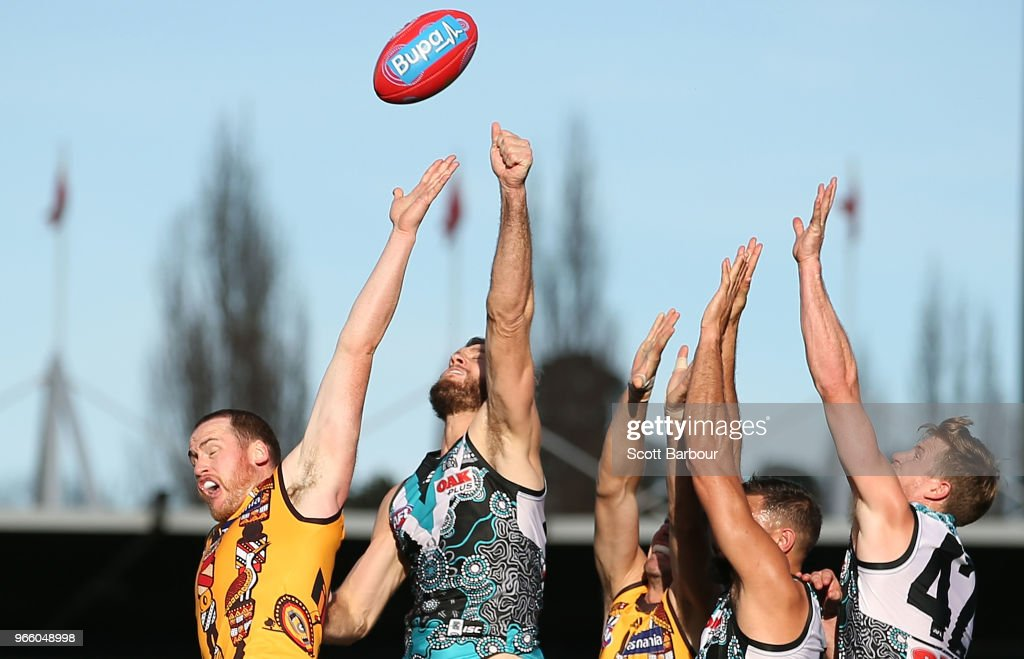 Jarryd Roughead of the Hawks competes for the ball during the round 11 AFL match between the Hawthorn Hawks and the Port Adelaide Power at University of Tasmania Stadium on June 2, 2018 in Launceston, Australia.