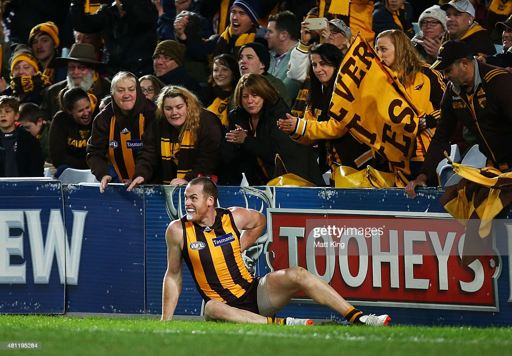 Jarryd Roughead of the Hawks holds his back after being pushed by Dane Rampe of the Swans after kinging a goal during the round 16 AFL match between the Sydney Swans and the Hawthorn Hawks at ANZ Stadium on July 18, 2015 in Sydney, Australia.