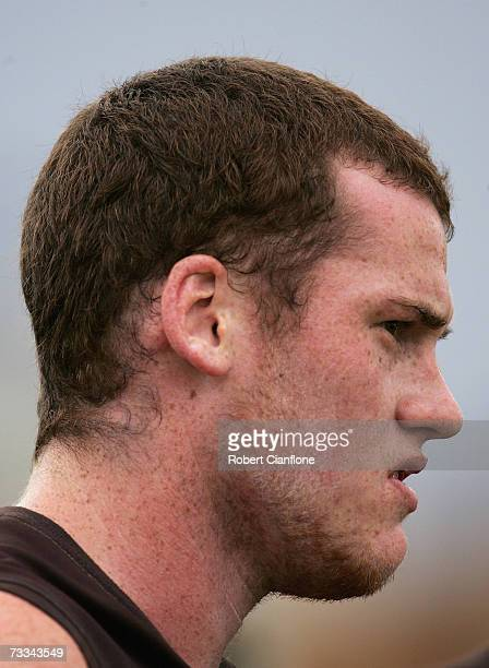 Jarryd Roughead of the Hawks is seen in the huddle at the break during the Hawthorn Hawks intra-club AFL match at Waverley Park on February 16, 2007...