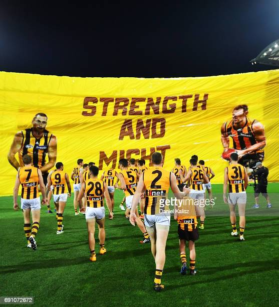Jarryd Roughead of the Hawks leads his team onto the ground prior to the round 11 AFL match between the Port Adelaide Power and the Hawthorn Hawks at...