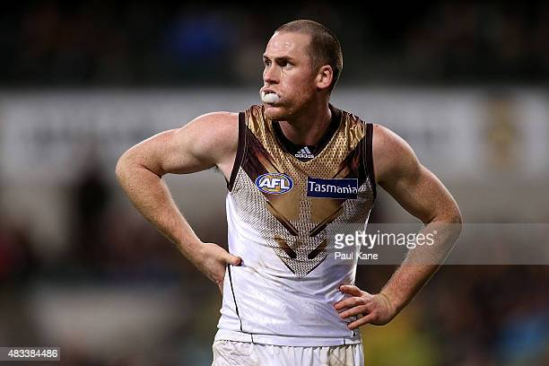 Jarryd Roughead of the Hawks looks on during the round 19 AFL match between the West Coast Eagles and the Hawthorn Hawks at Domain Stadium on August...