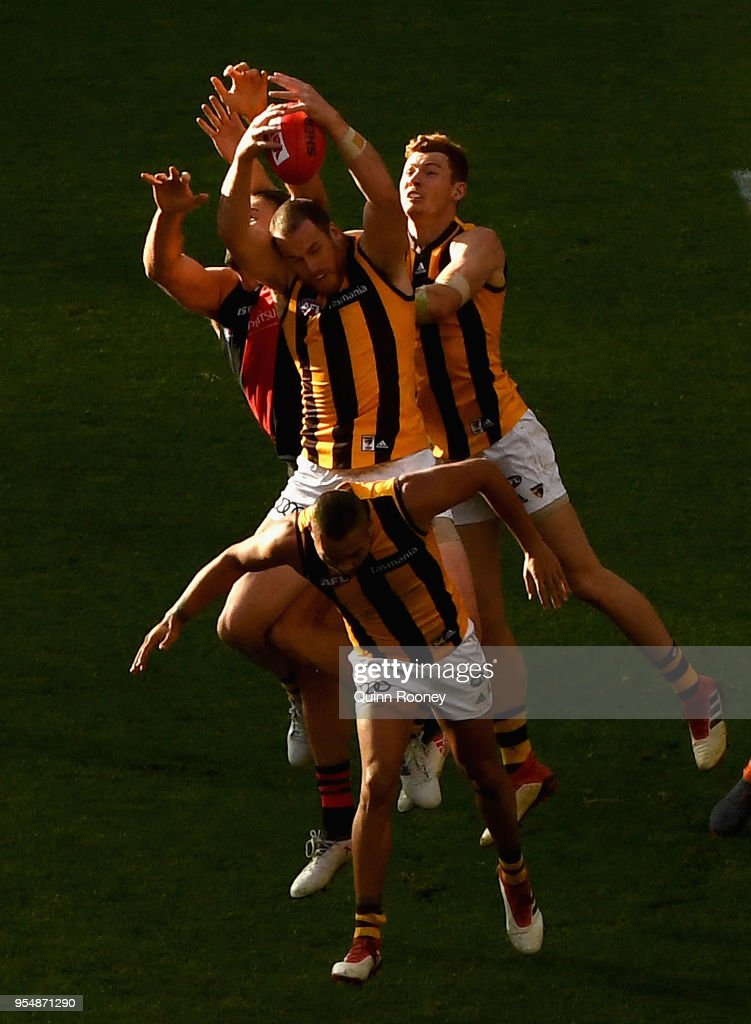 Jarryd Roughead of the Hawks marks during the round seven AFL match between the Essendon Bombers and the Hawthorn Hawks at Melbourne Cricket Ground on May 5, 2018 in Melbourne, Australia.