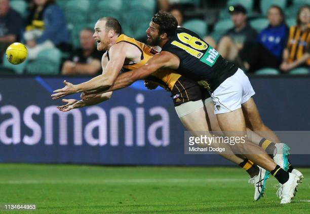Jarryd Roughead of the Hawks marks the ball against Alex Rance of the Tigers during the 2019 JLT Community Series AFL match between the Hawthorn...