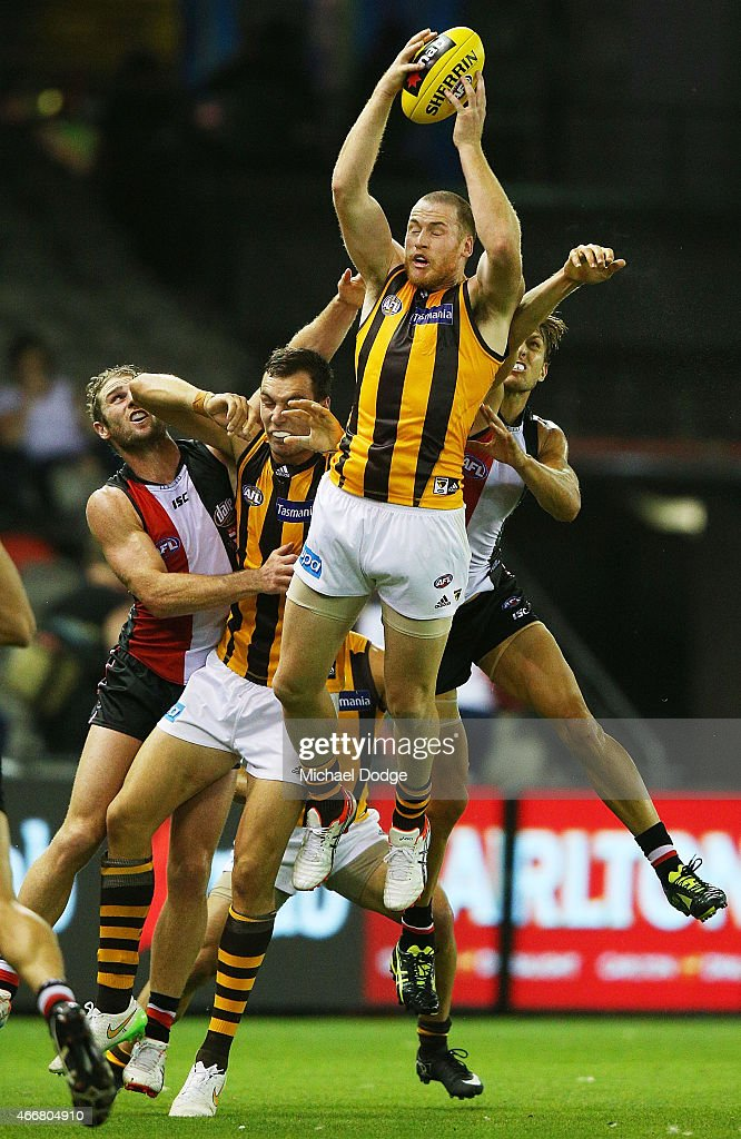 Jarryd Roughead of the Hawks marks the ball during the NAB Challenge AFL match between St Kilda Saints and Hawthorn Hawks at Etihad Stadium on March 19, 2015 in Melbourne, Australia.
