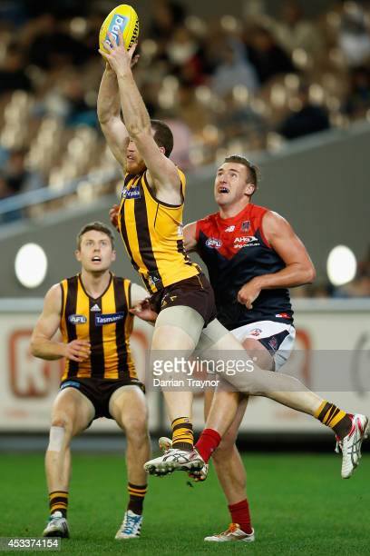 Jarryd Roughead of the Hawks marks the ball during the round 20 AFL match between the Hawthorn Hawks and the Melbourne Demons at Melbourne Cricket...
