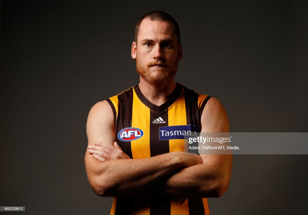 Jarryd Roughead of the Hawks poses during the AFL Captains Day at Etihad Stadium on March 15, 2018 in Melbourne, Australia.