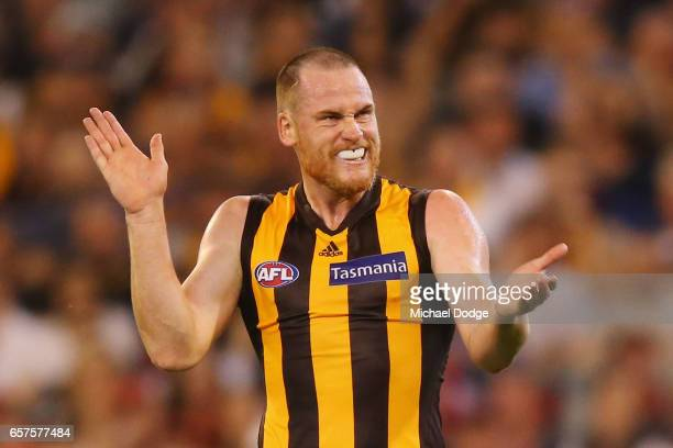 Jarryd Roughead of the Hawks reacts after missing a goal during the round one AFL match between the Essendon Bombers and the Hawthorn Hawks at...