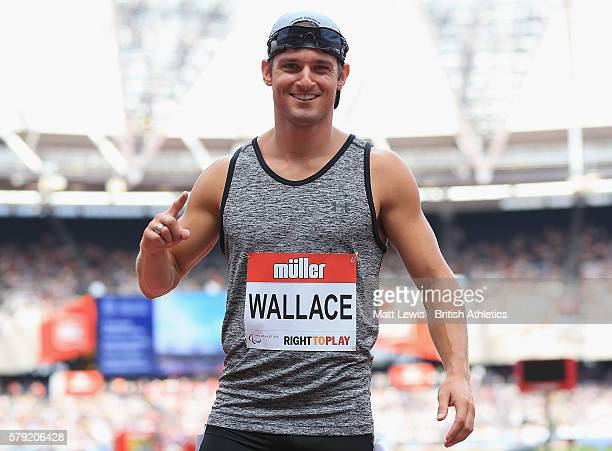 Jarryd Wallace of the United States looks on after the Mens 100m T43/44 during day two of the Muller Anniversary Games at The Stadium Queen Elizabeth...