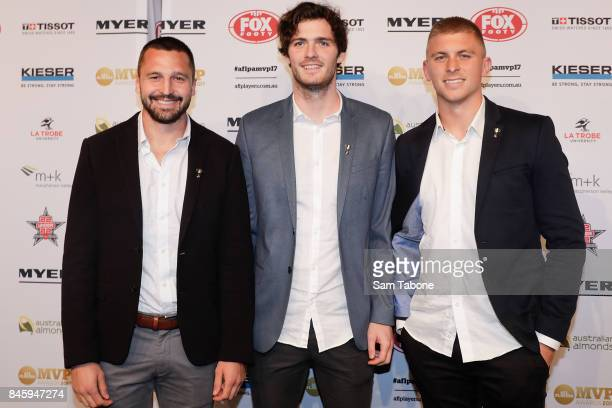 Jarryn Geary Dylan Roberton and Seb Ross arrives ahead of the AFL Players' MVP Awards on September 12 2017 in Melbourne Australia