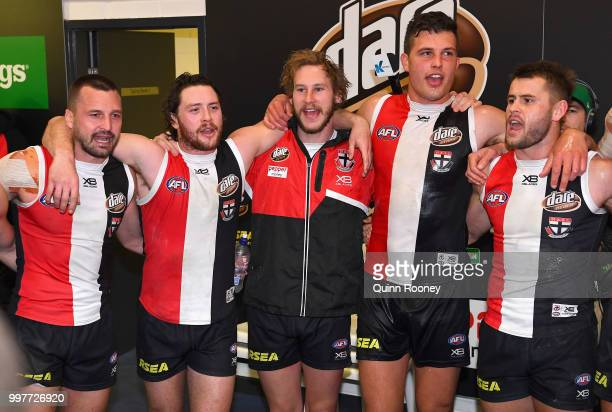 Jarryn Geary Jack Steven Jimmy Webster Rowan Marshall and Maverick Weller of the Saints sing the song in the rooms after winning the round 17 AFL...