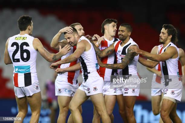 Jarryn Geary of the Saints celebrates after scoring a goal during the round 5 AFL match between the Carlton Blues and the St Kilda Saints at Marvel...