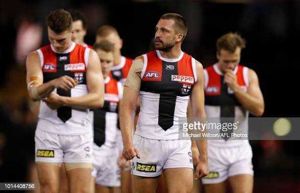 Jarryn Geary of the Saints looks dejected after a loss during the 2018 AFL round 21 match between the Essendon Bombers and the St Kilda Saints at...